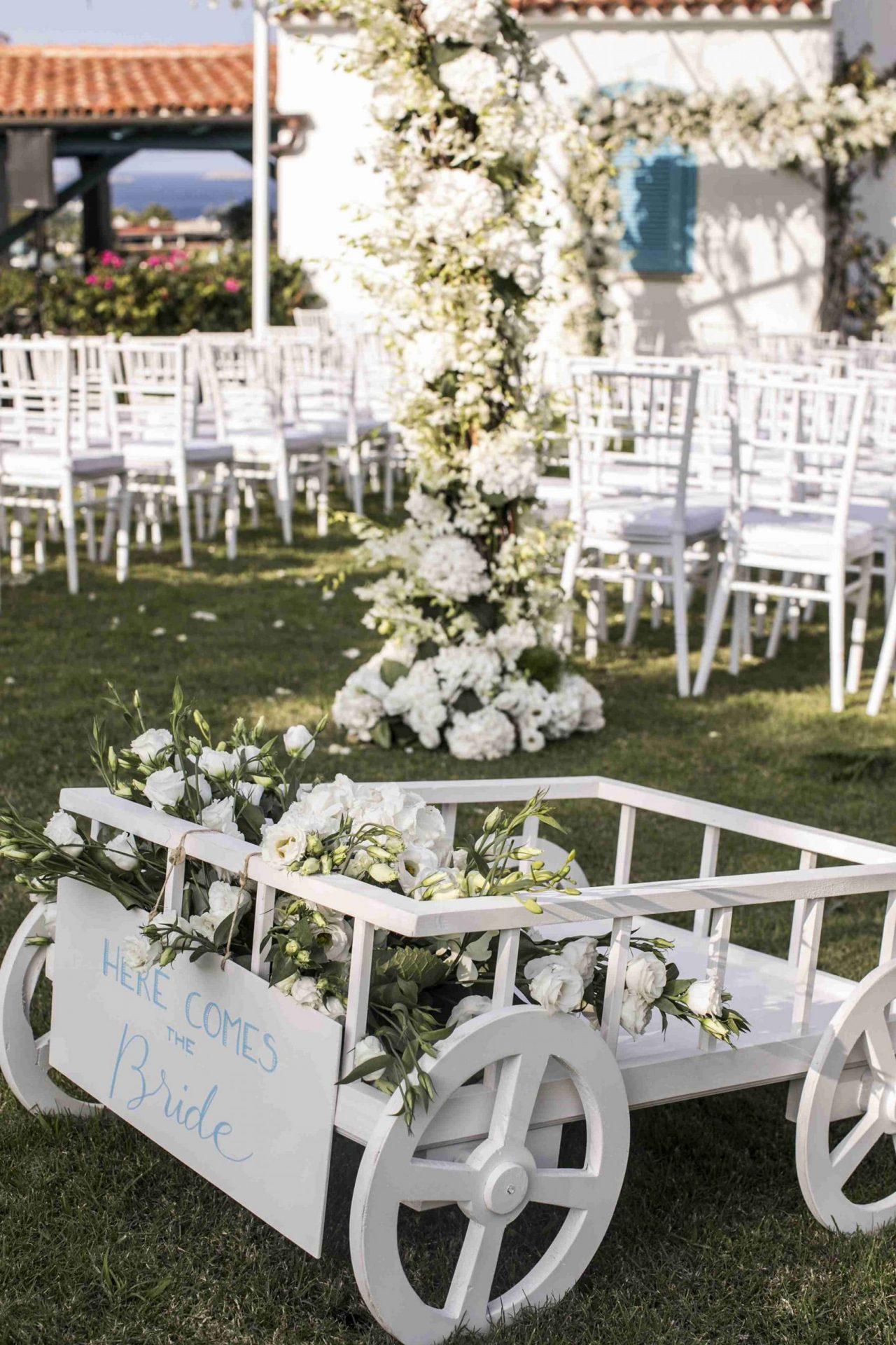 Charlotte and Mark, wedding in Porto Cervo, here comes the bride
