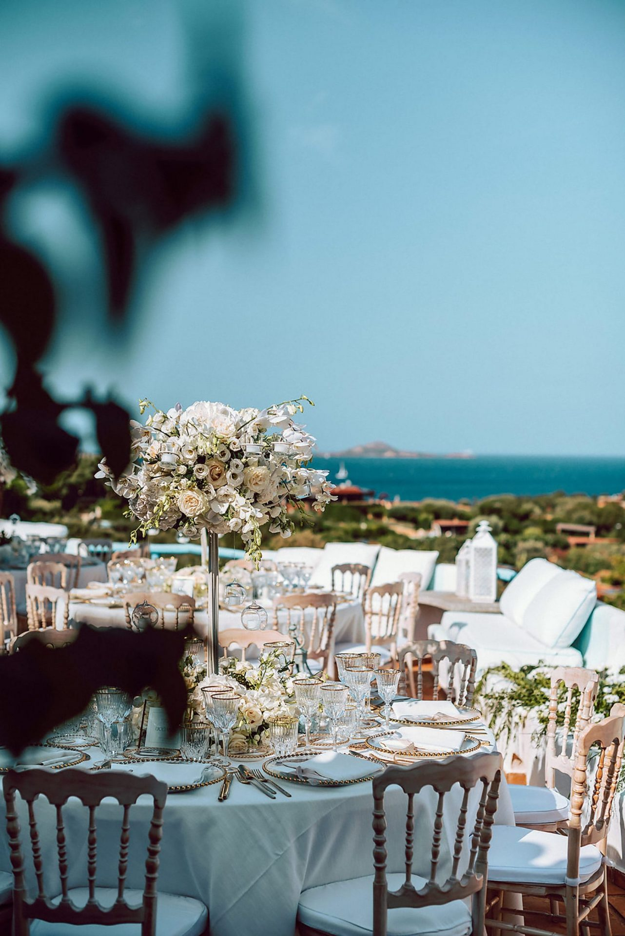Charlotte and Mark, sophisticated wedding table decor with sea view