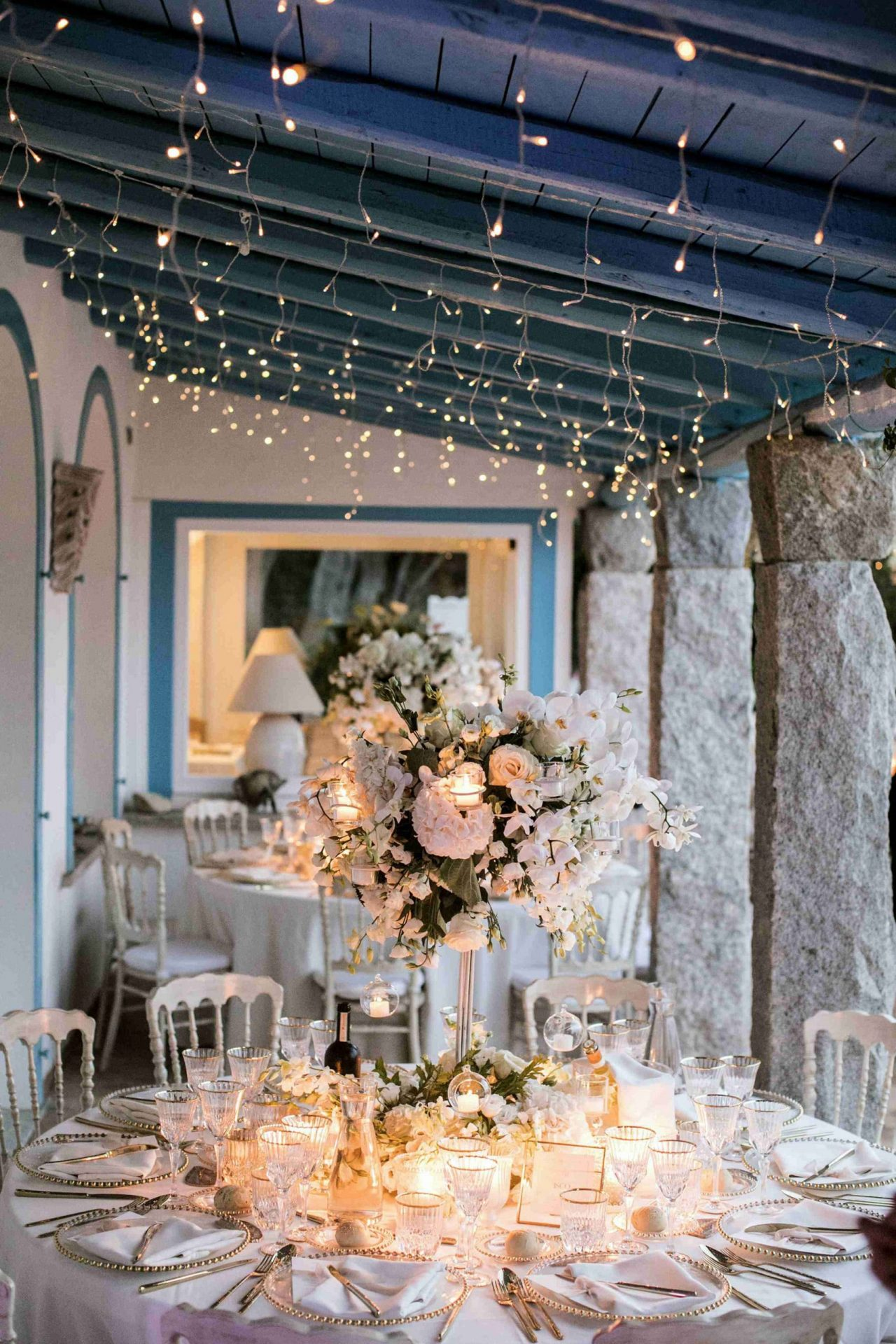 Charlotte and Mark, sophisticated wedding table decor by the sea