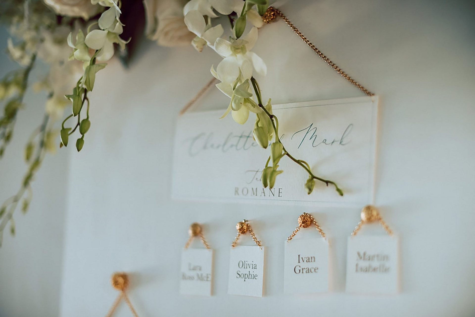 Charlotte and Mark, sophisticated wedding escort cards
