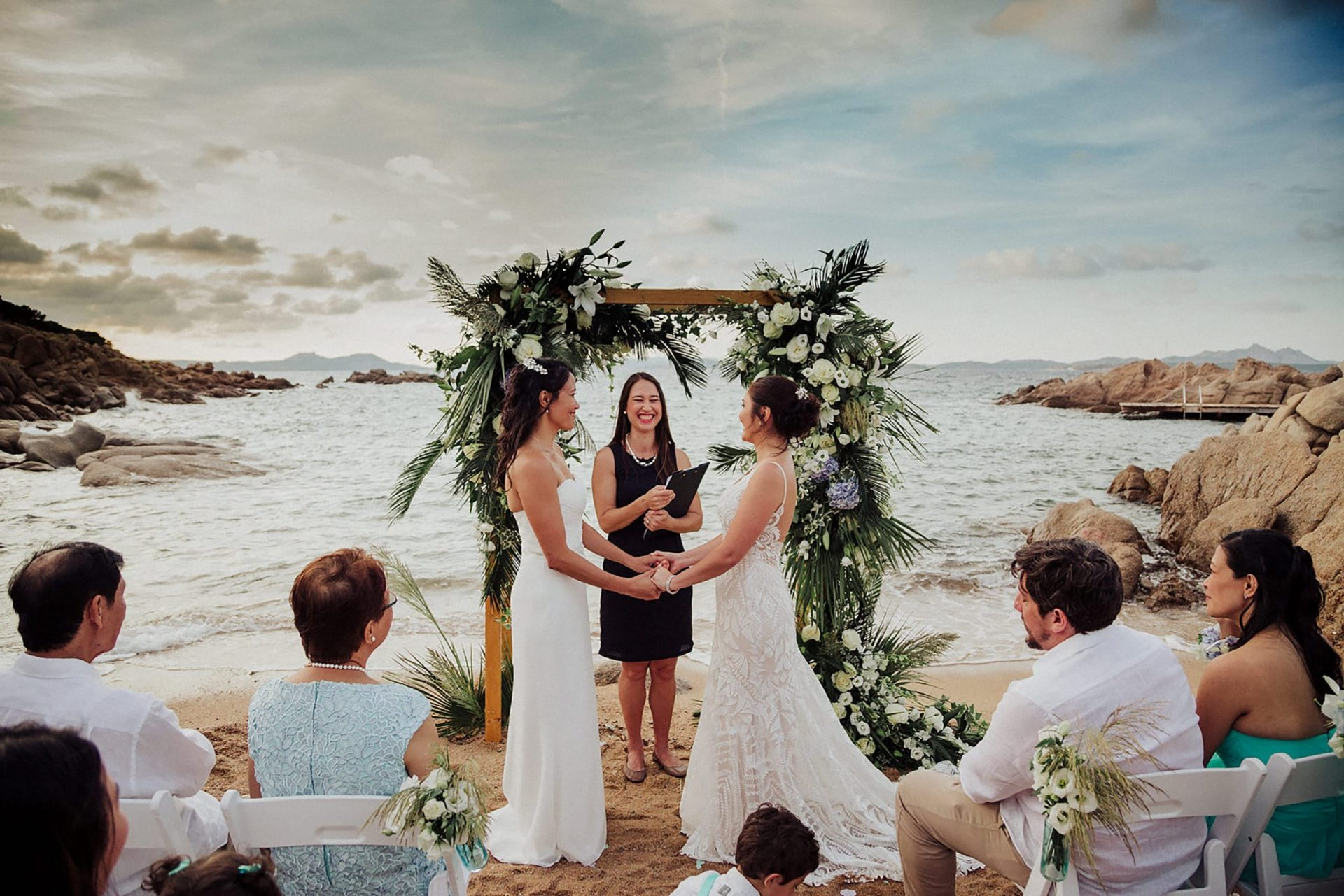 Cheryl and Leslye, beach ceremony in Costa Smeralda