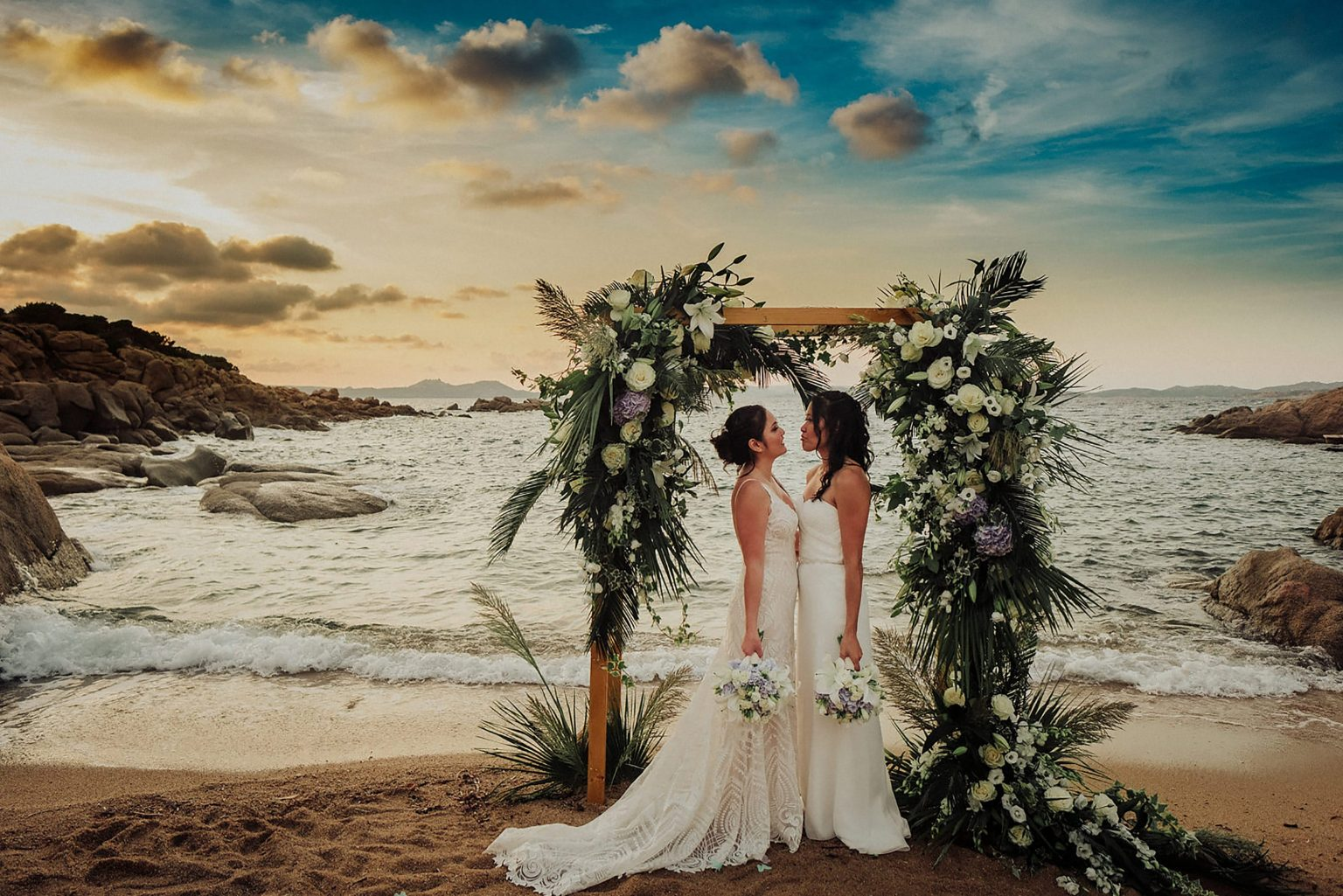 Cheryl and Leslye, ceremony arch on the beach