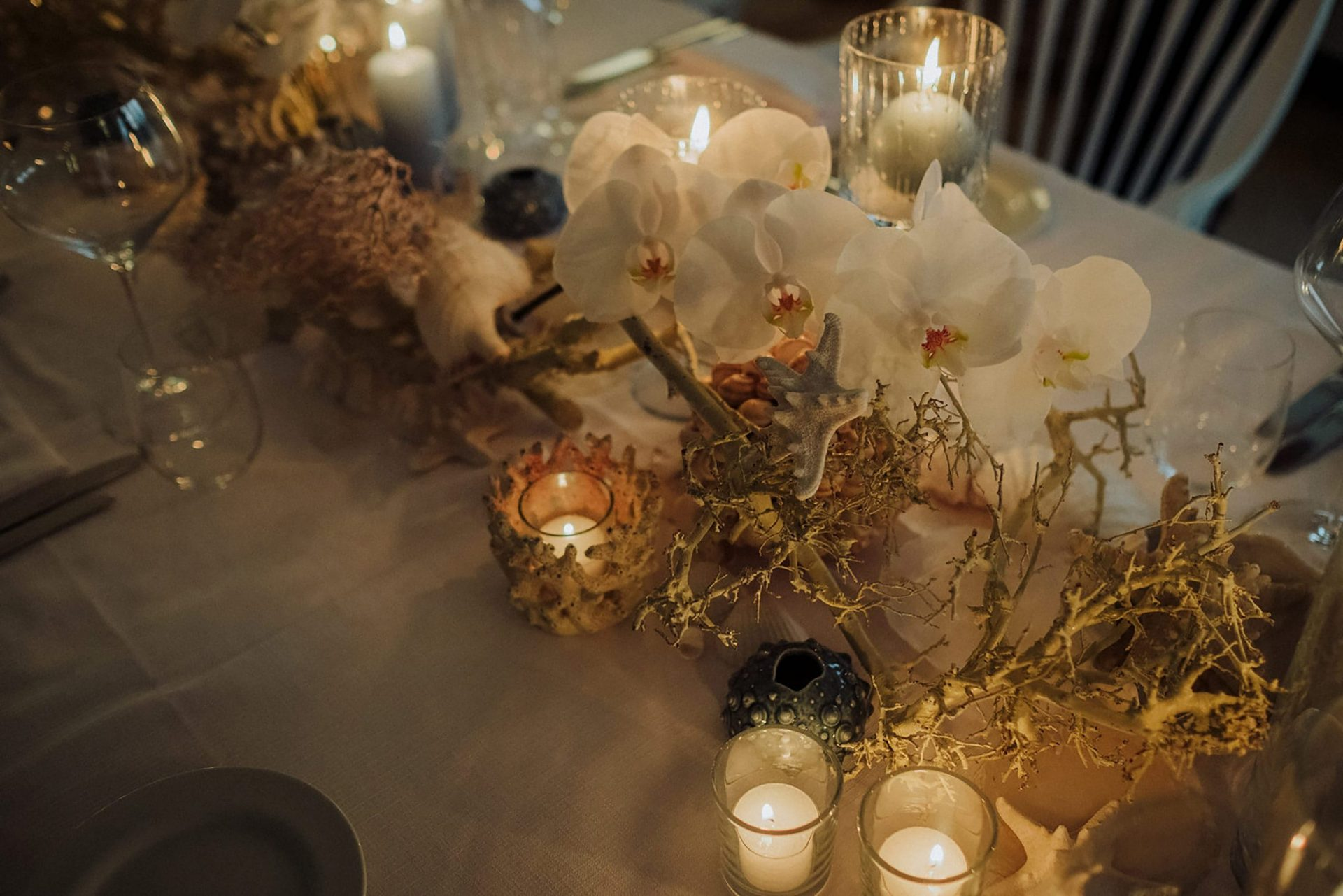 Cheryl and Leslye, sea inspired table decor