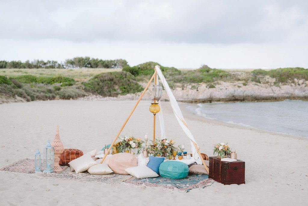 Elopement design on the beach