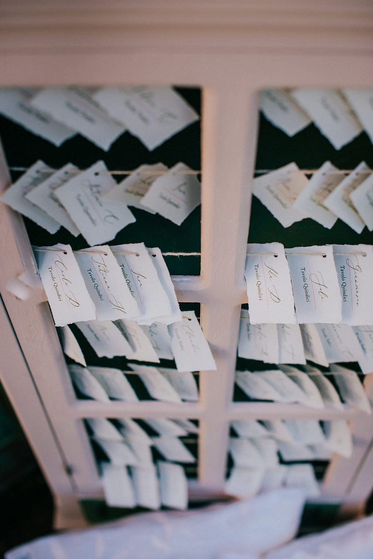 Ilaria e Giovanni, al fresco wedding, rustic chic escort cards