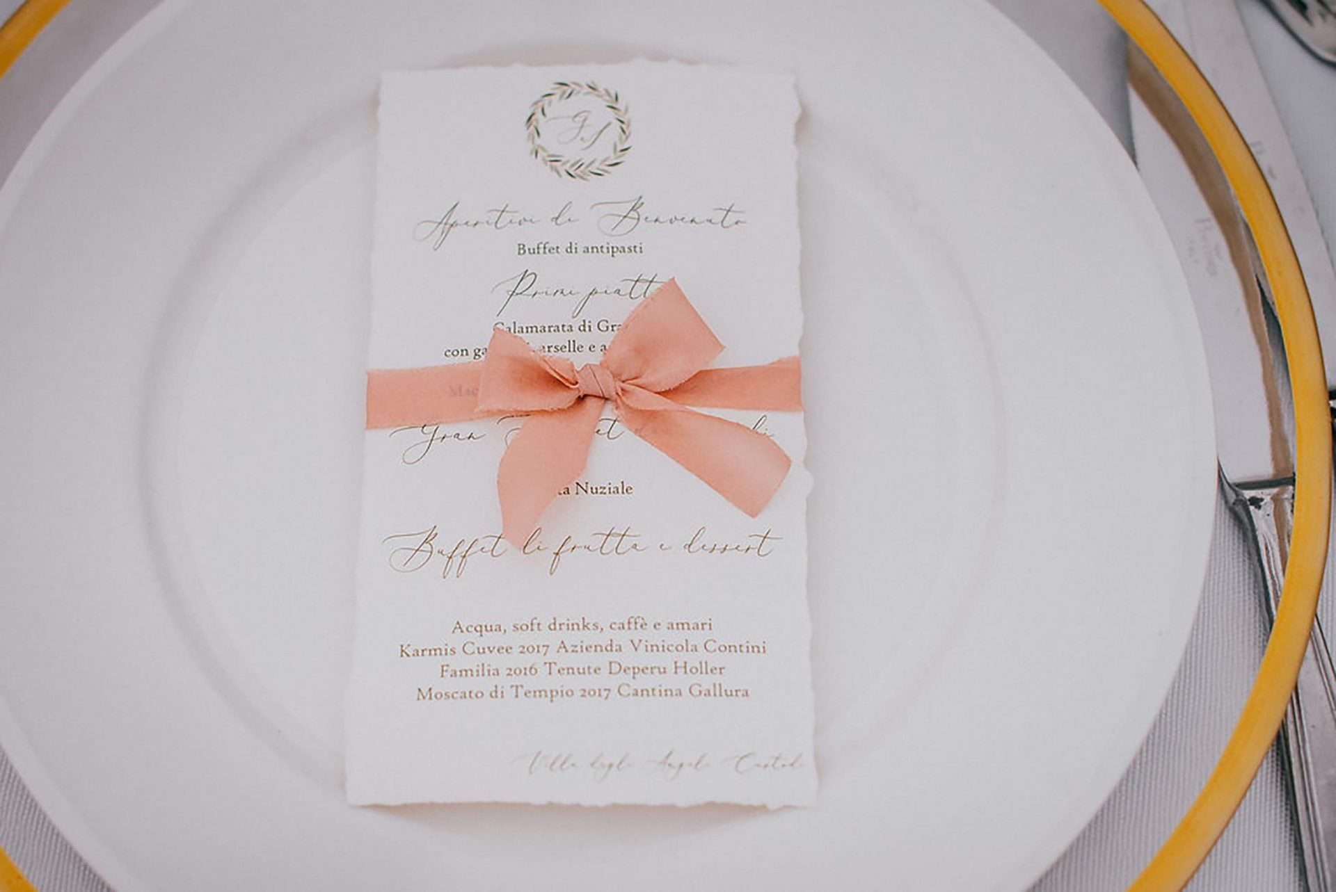 Ilaria e Giovanni, al fresco wedding, Menù stationery