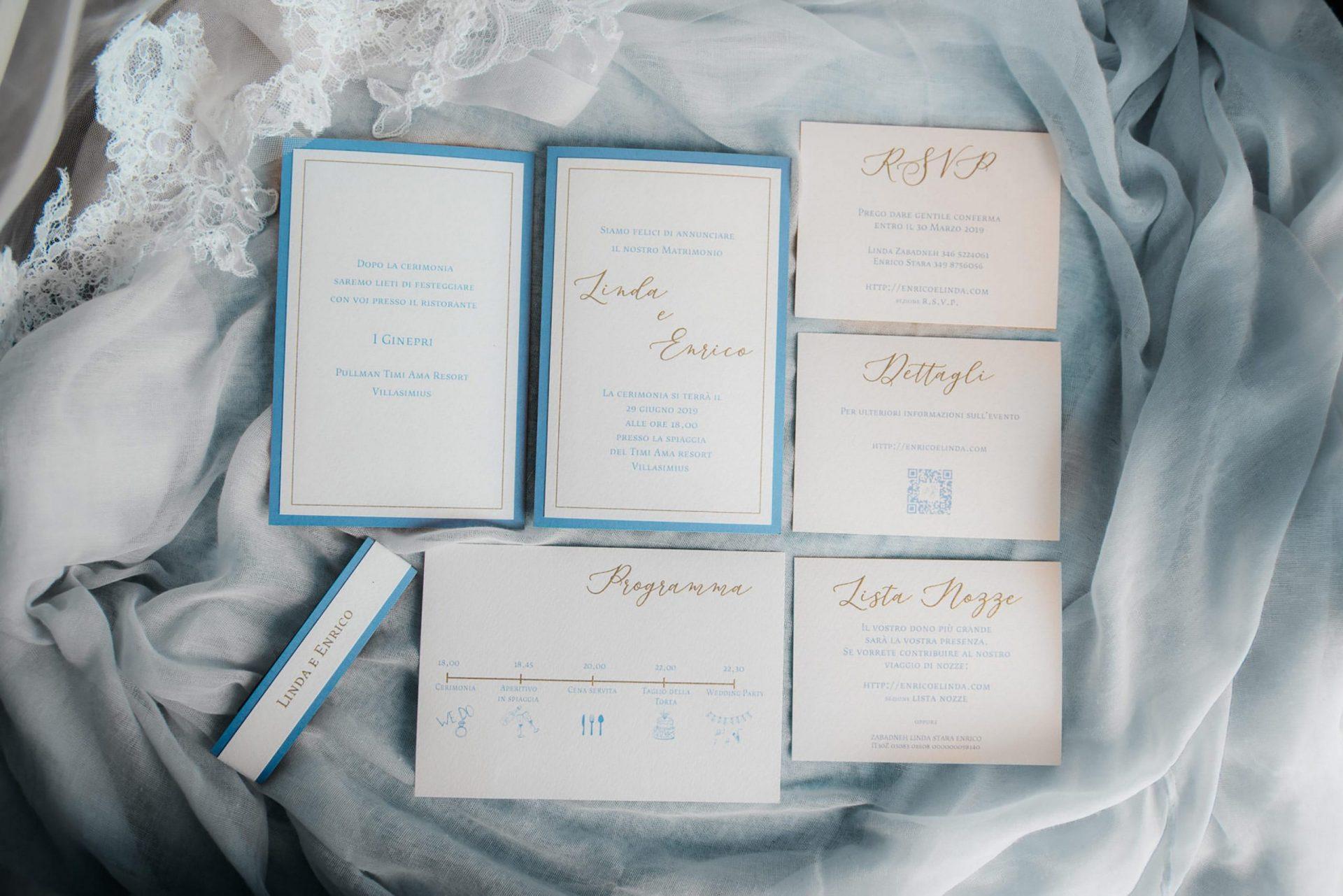 Linda and Enrico, wedding stationery