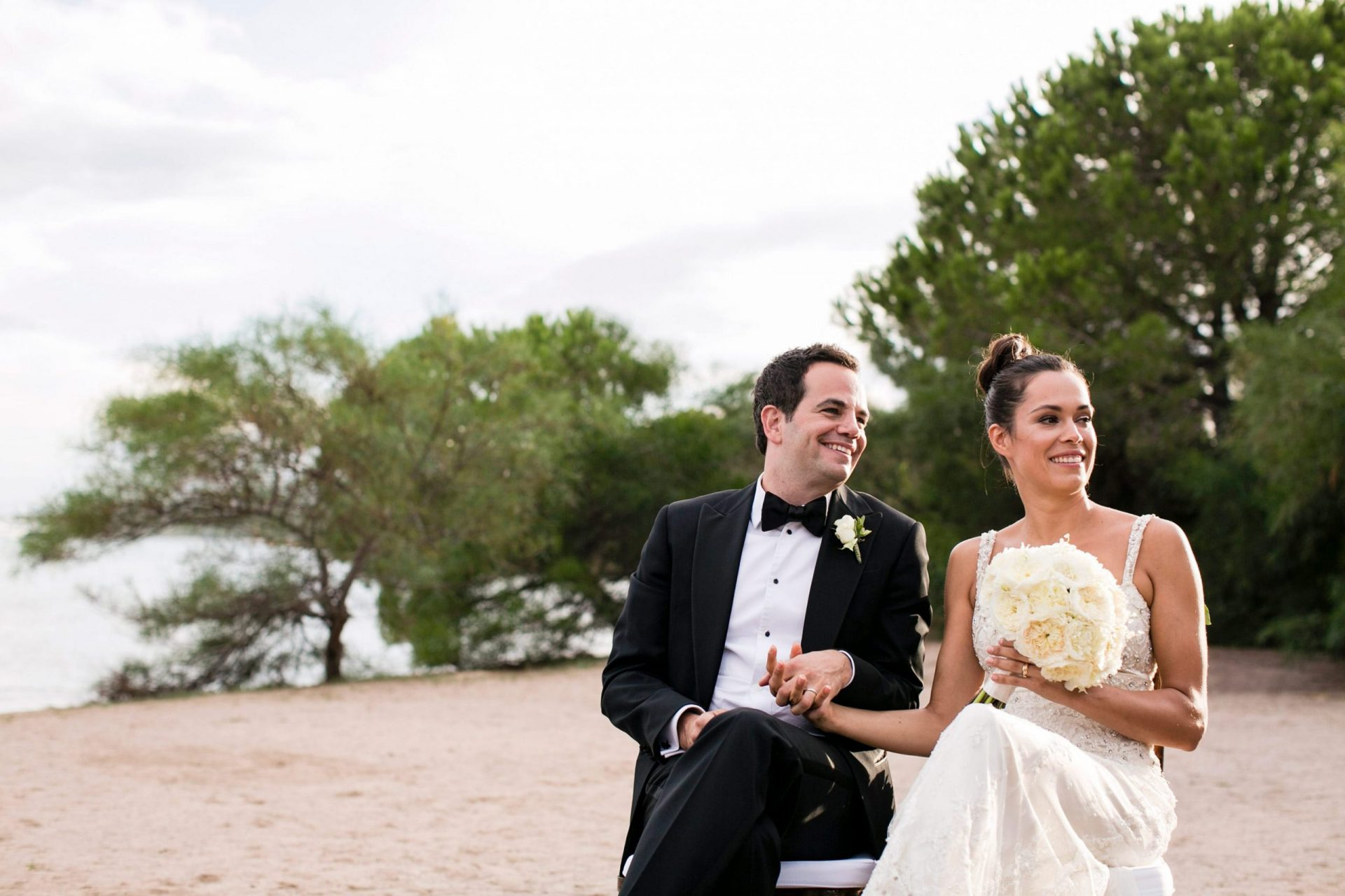 Lisa and Daniel, luxury wedding in Cala di Volpe, the bride and the groom