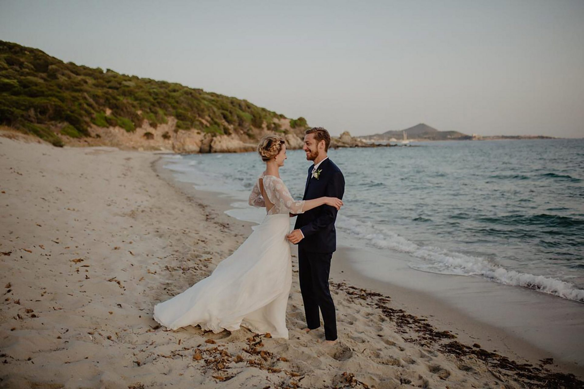 Luca and Delphine, the bride and the groom in Villasimius beach