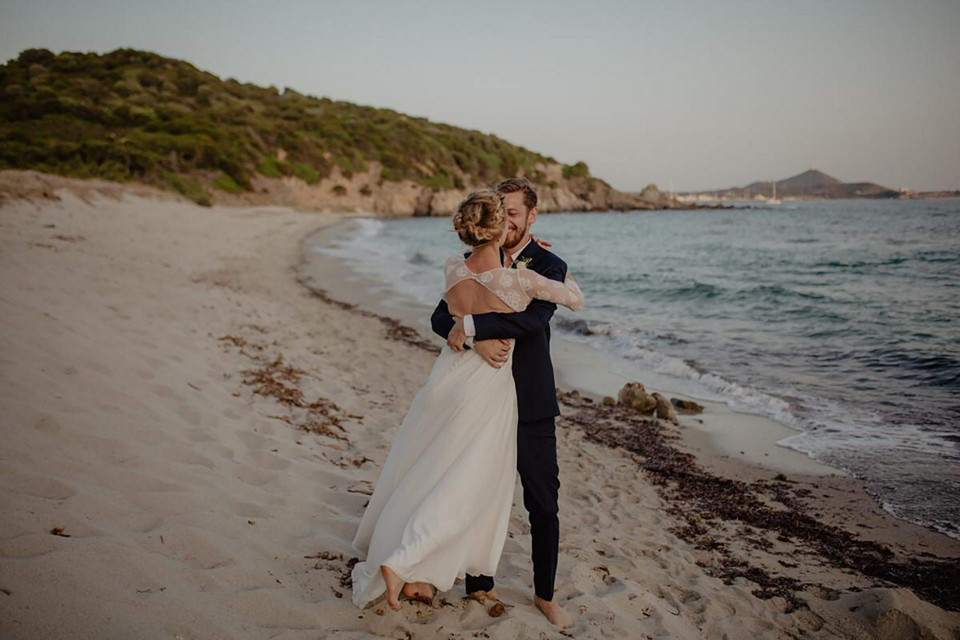 Luca and Delphine, on the beach