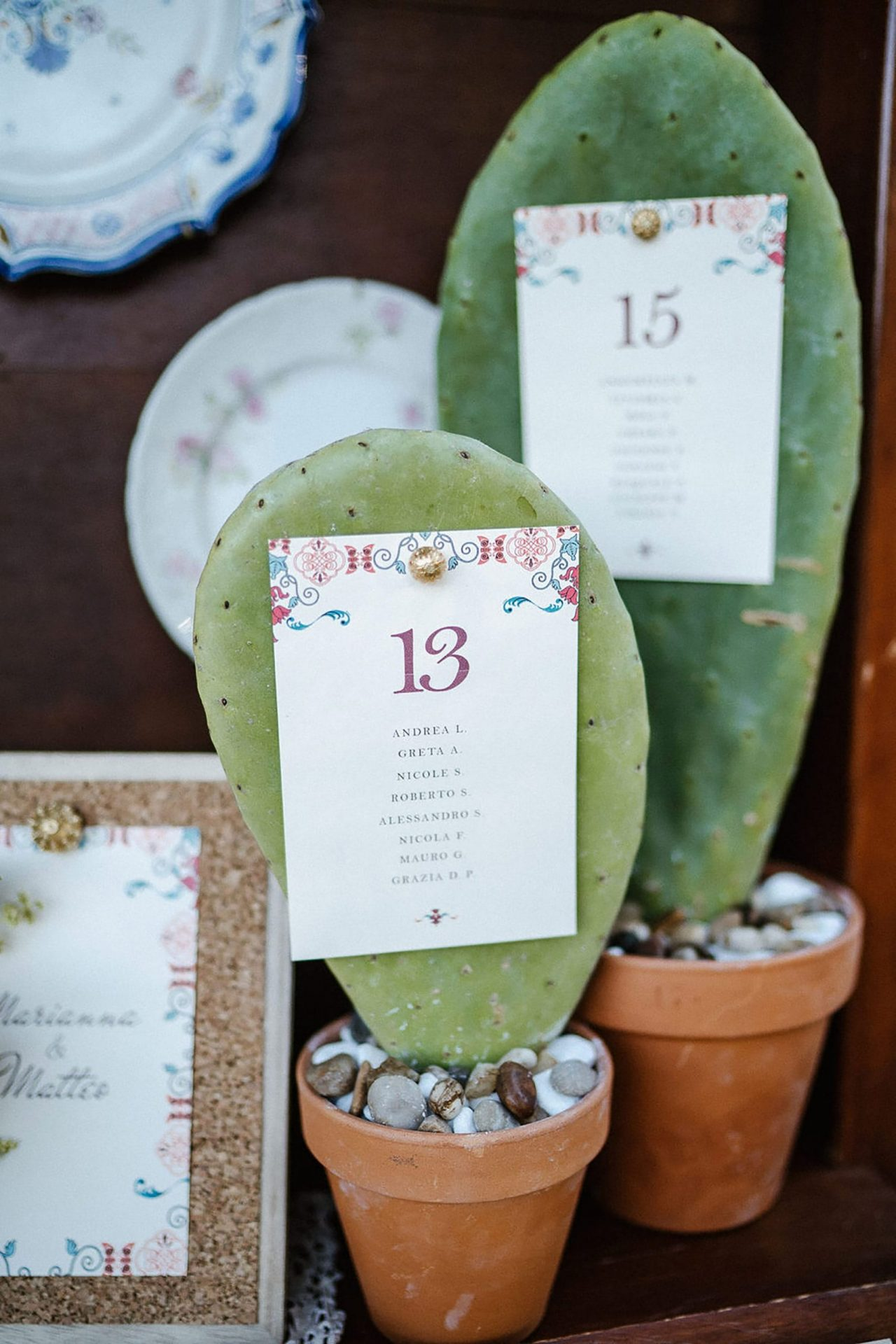 Marianna & Matteo, cactus table number