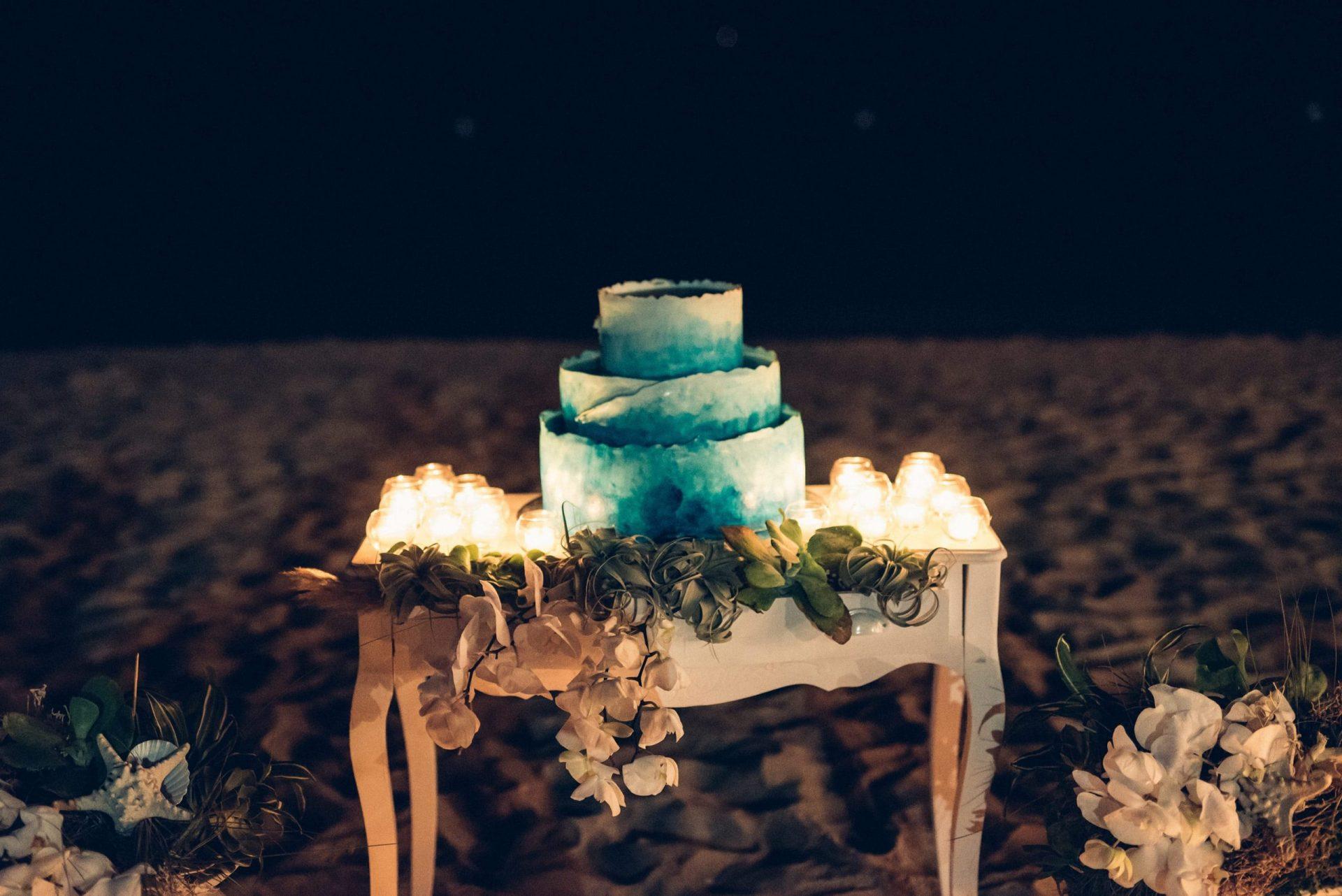 Mario and Mery, beach wedding cake table