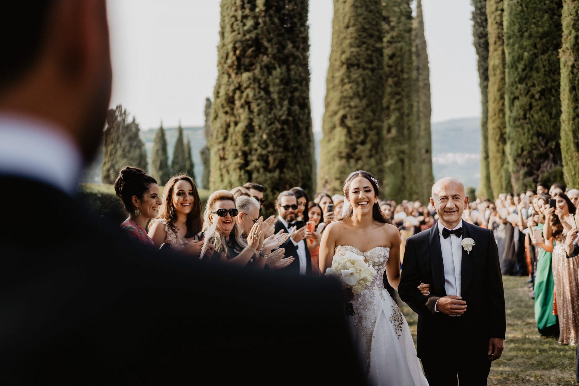 Ranya and Tarek, Italian garden wedding, the bride walk