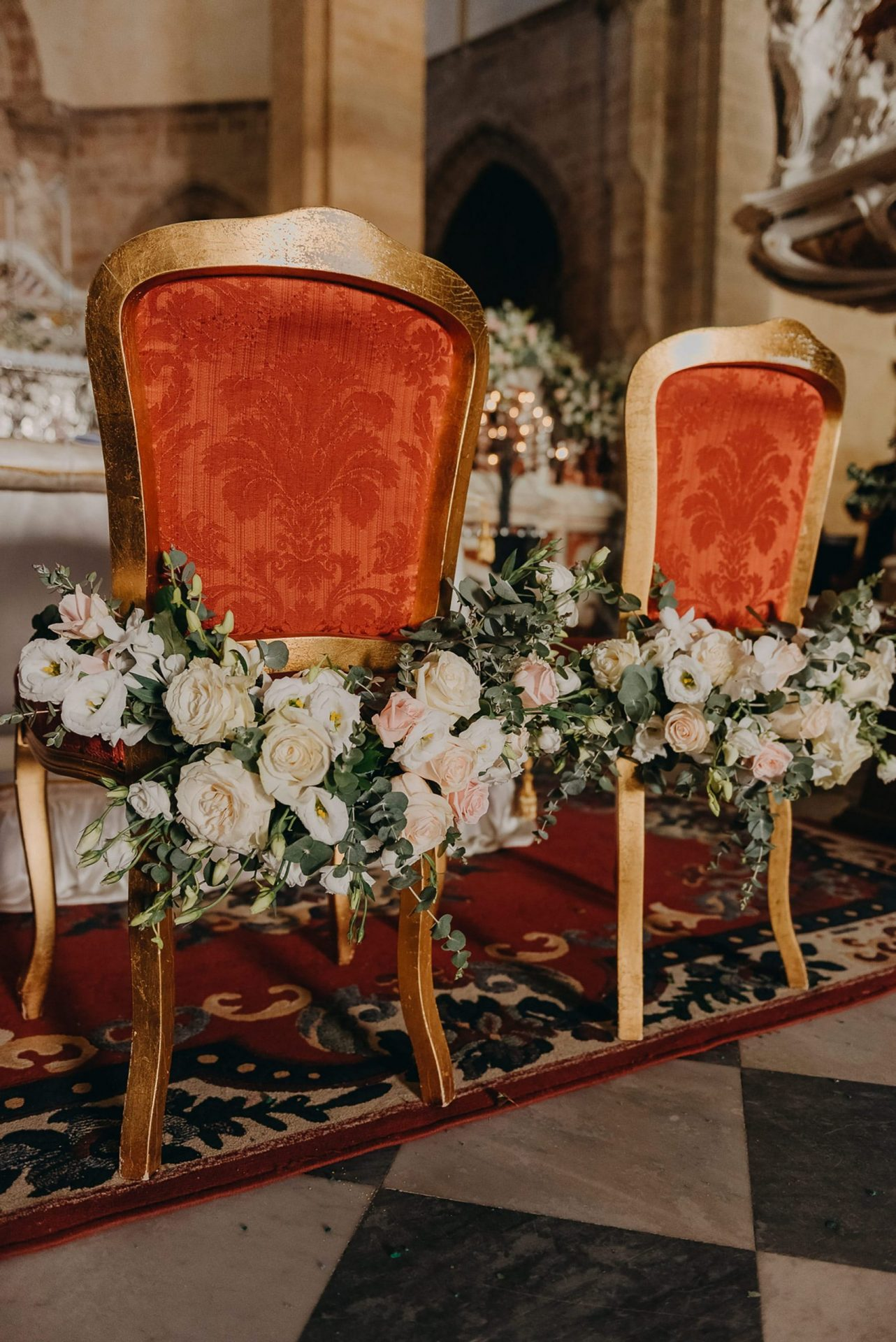 Simona and Elie, church decoration, spouses chairs decoration