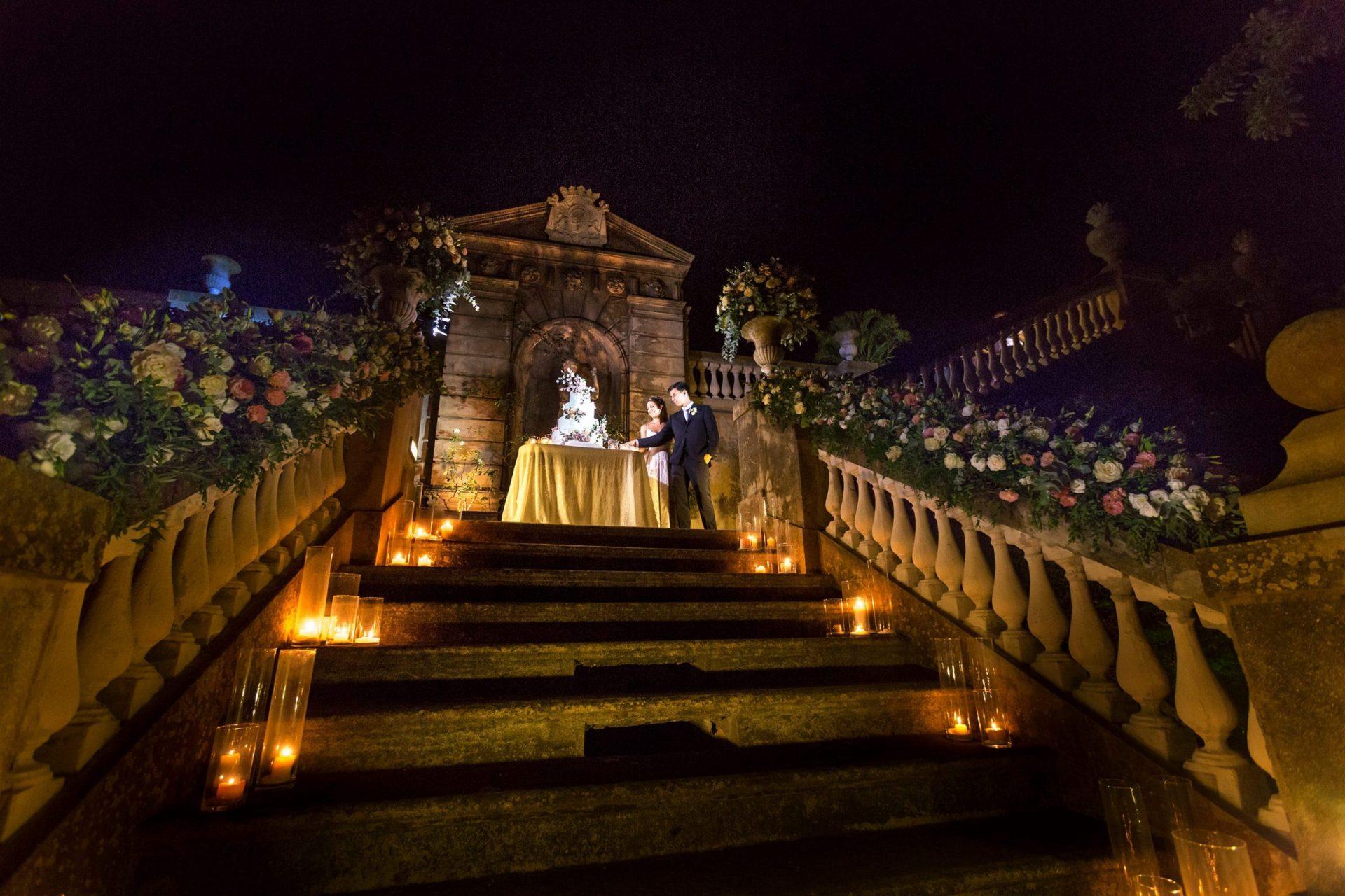 Federica and Stefano, historical villa, wedding cake cut