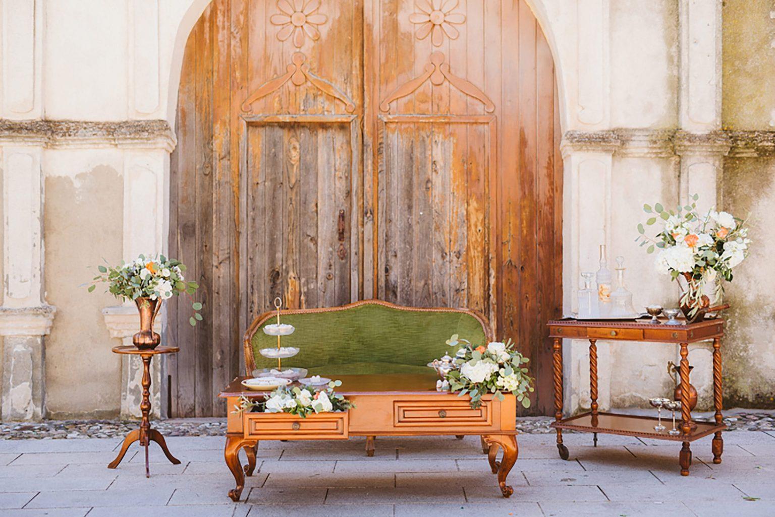 Italian village elopement, vintage furniture