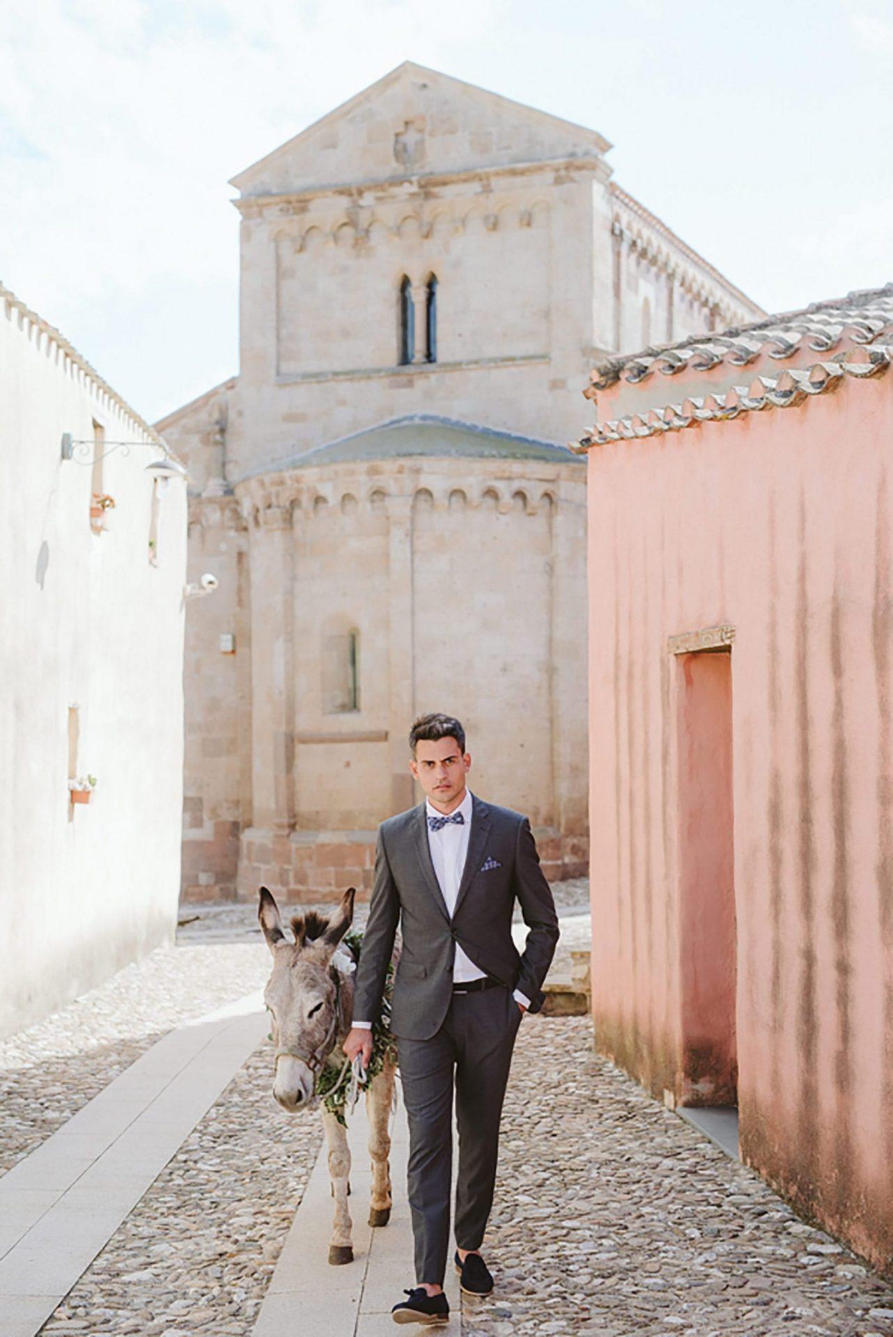 Elopement in ancient Italian village, the groom