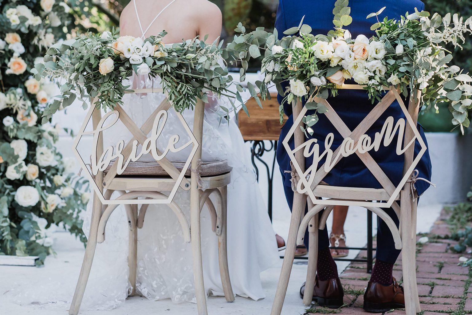 Su Gologone wedding, bride and groom chairs