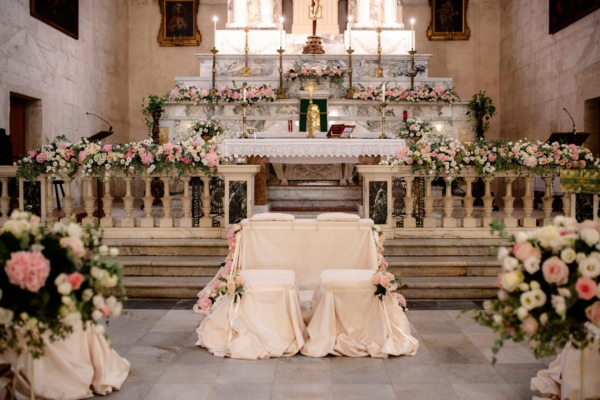 Francesca and Francesco, church flower arrangements