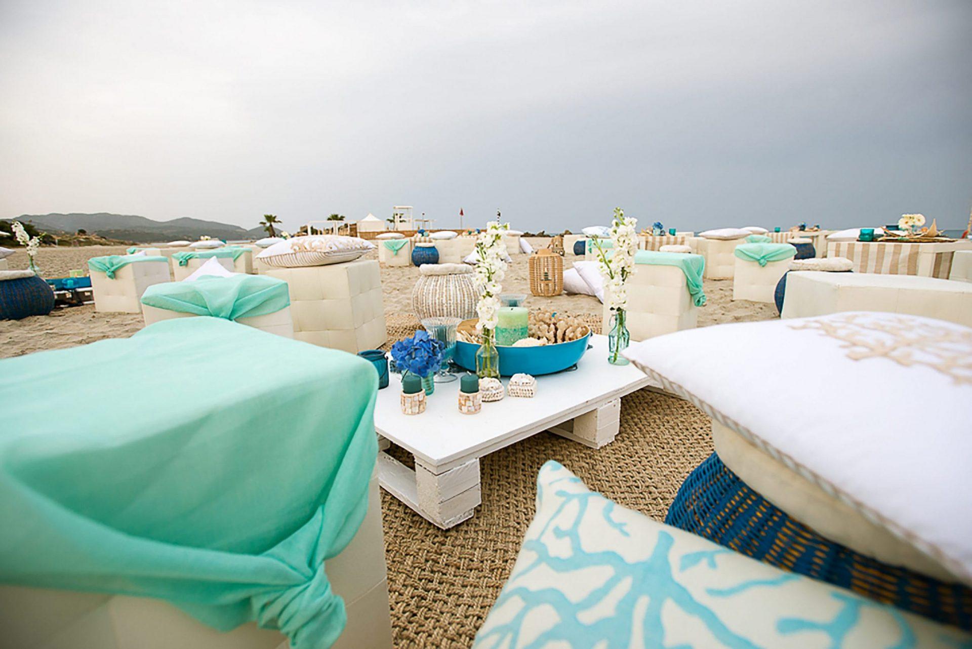 Sardinia. Theme party on the beach, lounge areas