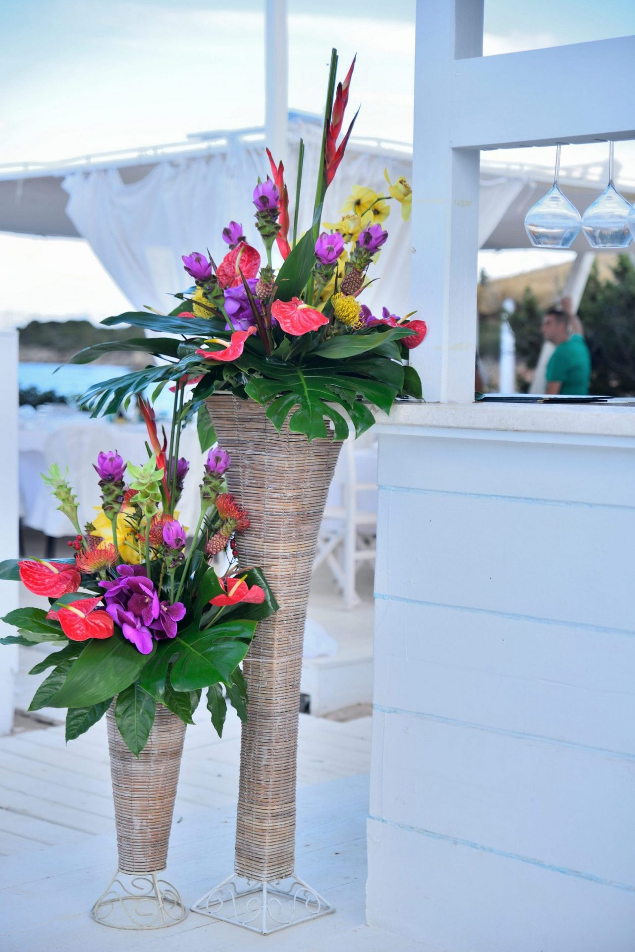Tropical party in Porto Cervo, flower arrangements