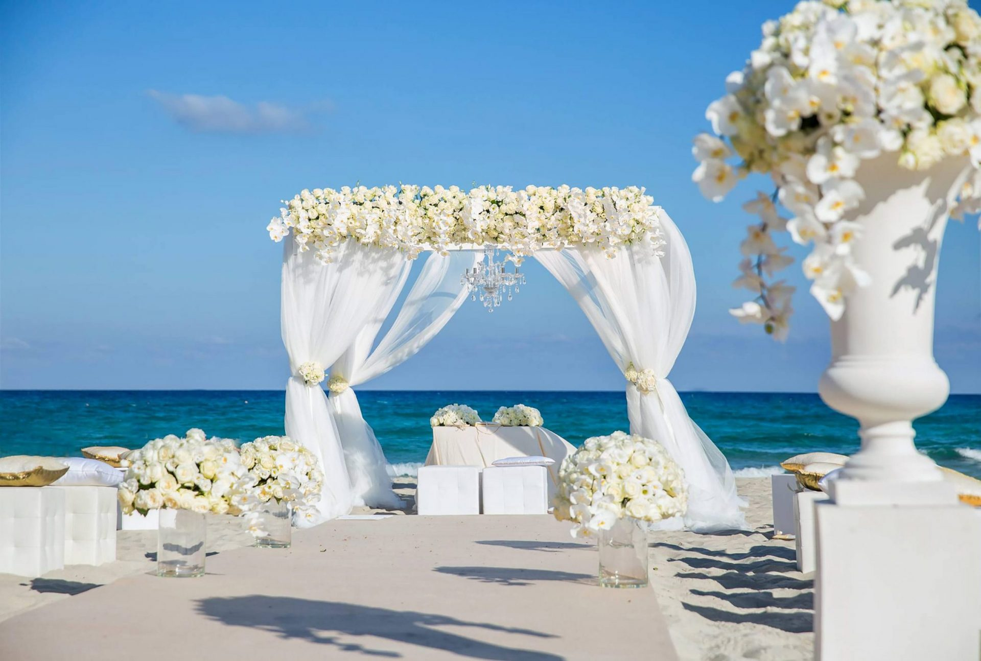 Andrea and Sebastien, beach wedding altar