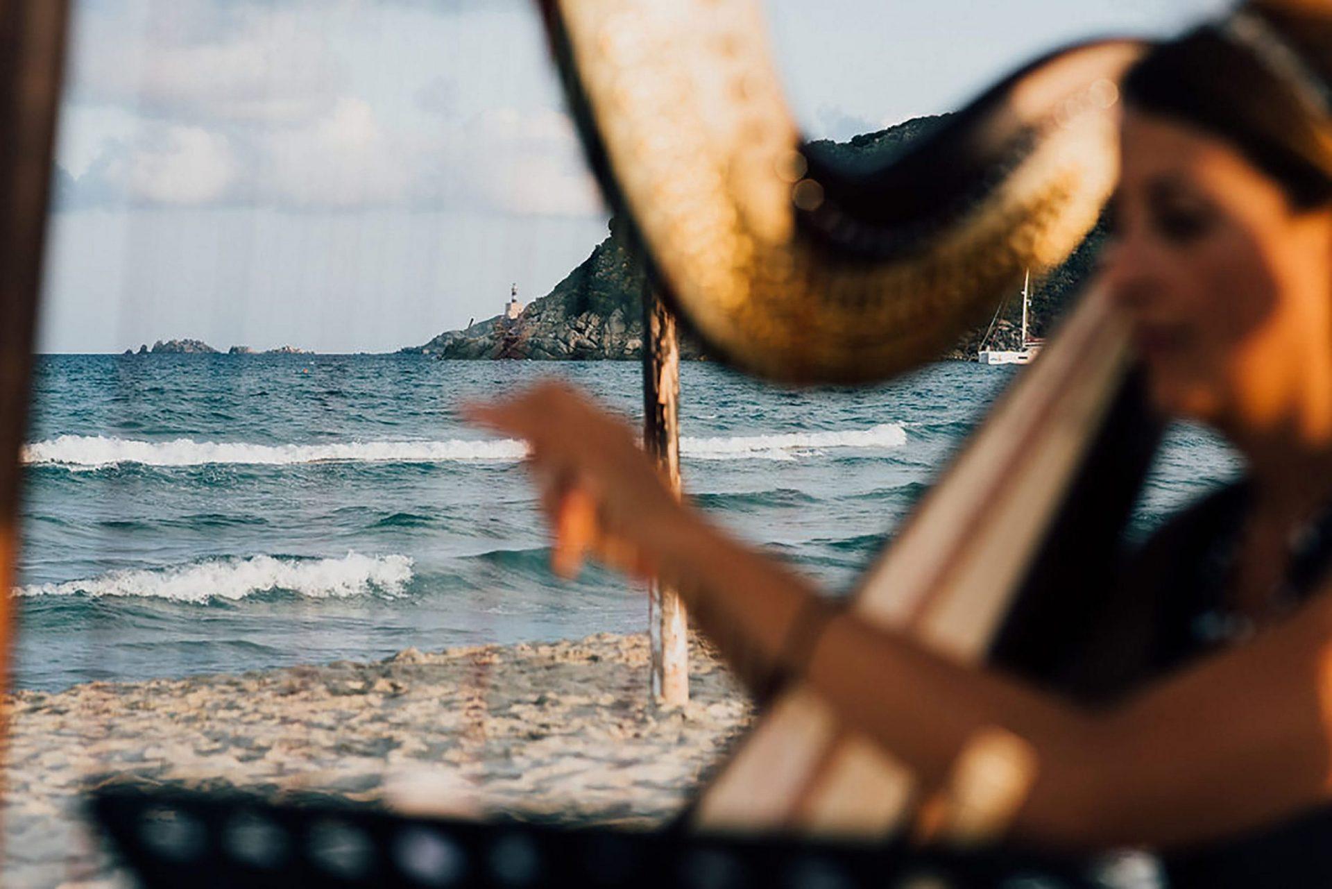 Andrea and Sebastien, wedding on the beach harp