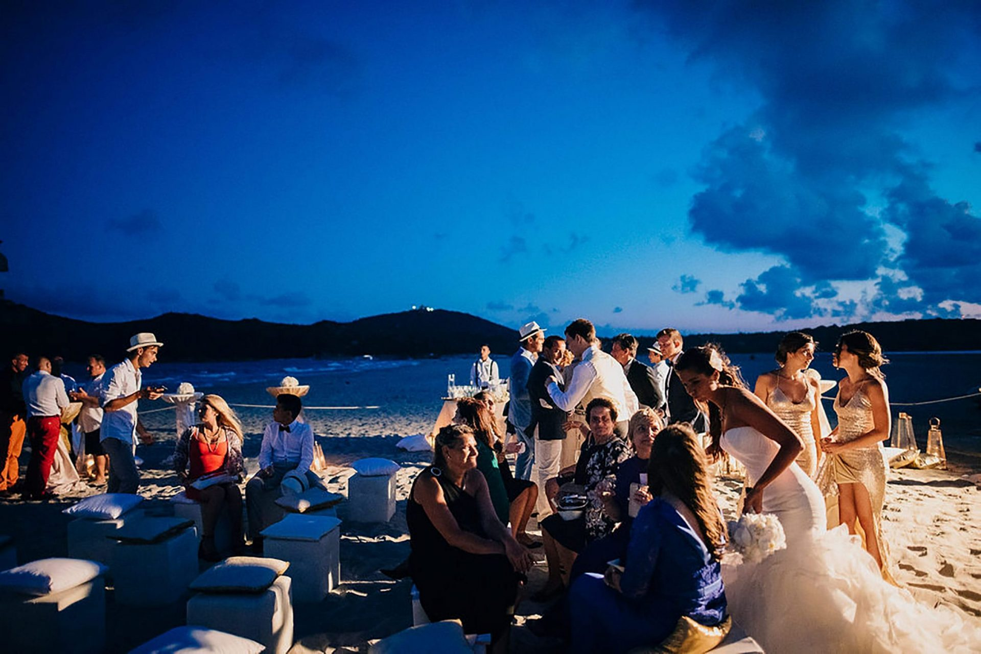 Andrea and Sebastien, wedding party on the beach