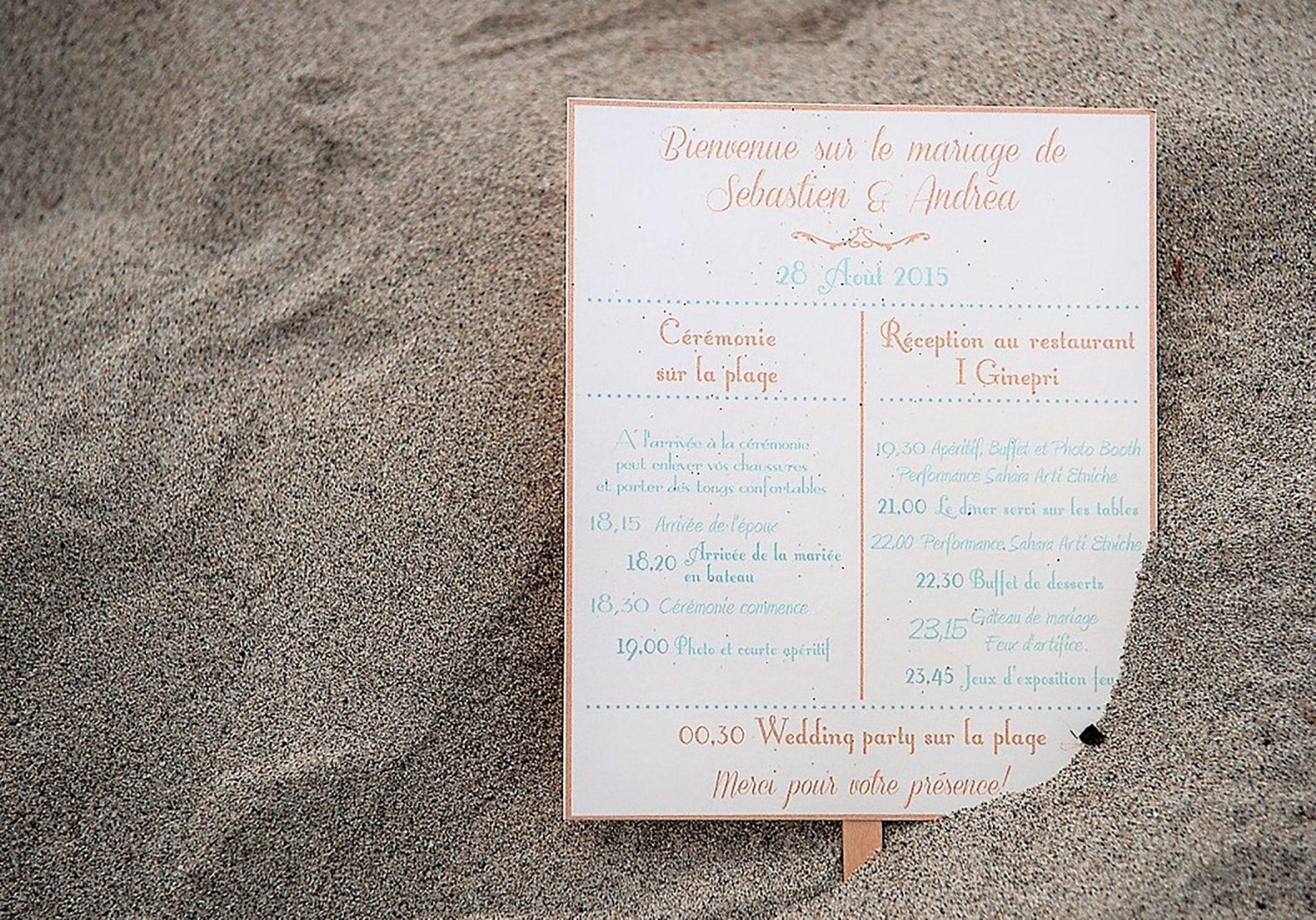 Andrea and Sebastien, wedding program