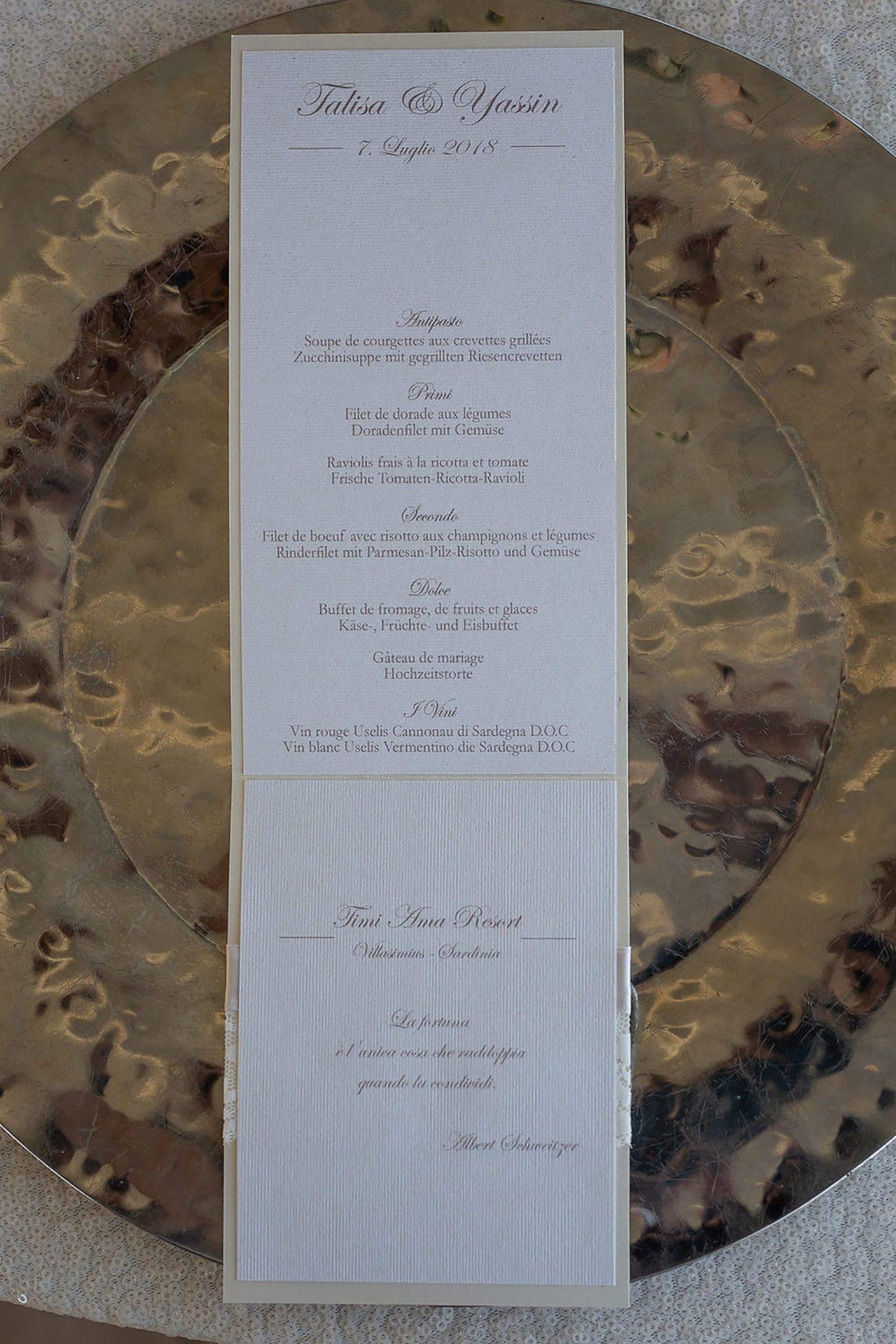 Talisa and Yassin, wedding menu