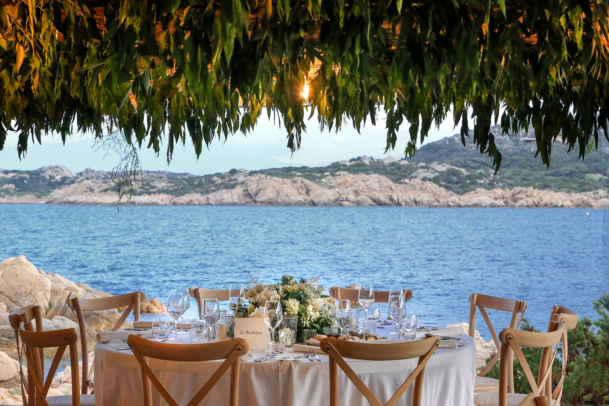 Agustina and Gianluca, wedding dinner with sea view